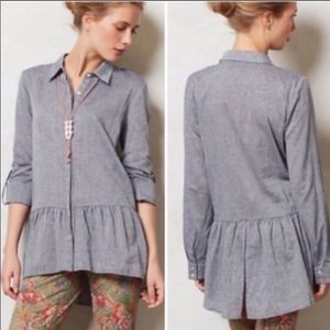 ANTHROPOLOGIE SUNDAY Peplum Ruffle Chambray Blouse